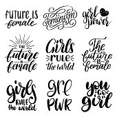 Girls Rule The World, GRL PWR etc, hand lettering prints set. Vector calligraphic collection of feminist movement.