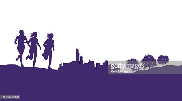 girls running or jogging graphic background - chicago loop stock illustrations, clip art, cartoons, & icons