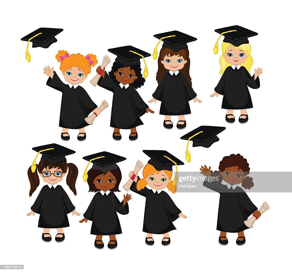 Girls. Set of children in a graduation gown and mortarboard.
