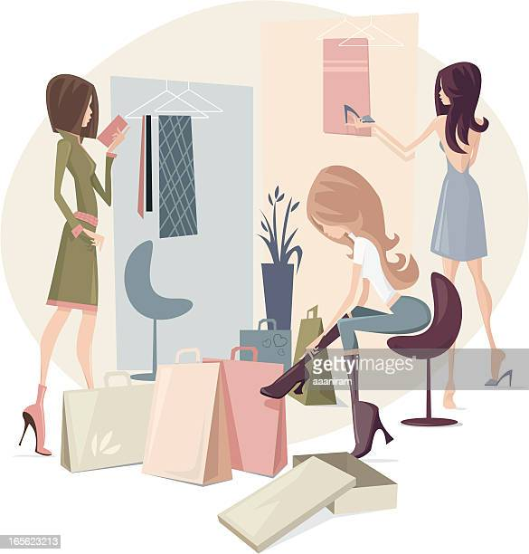 girls shopping - boutique stock illustrations, clip art, cartoons, & icons