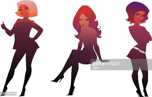 ilustraciones, imágenes clip art, dibujos animados e iconos de stock de girl's siluetas - mujeres de mediana edad