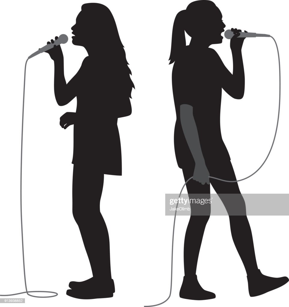 Girls Singing into Mic Silhouettes