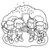 Girls soccer players champions holding a trophy. Vector black and white coloring book page