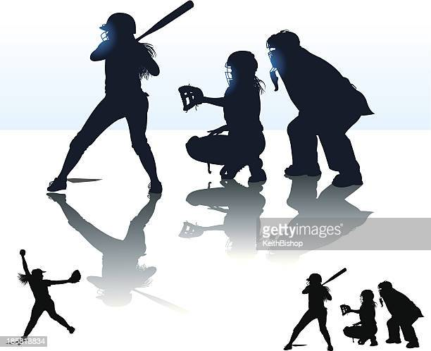 Girls Softball - At Bat, Catcher, Batter, Umpire, Pitcher