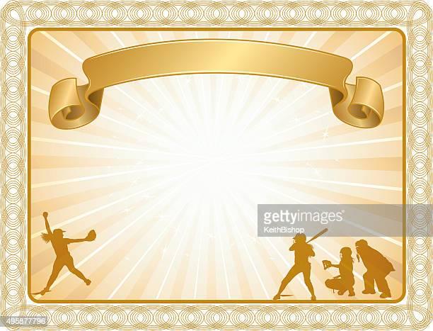 illustrations, cliparts, dessins animés et icônes de girls softball certificat de récompense ou essayez les départs arrière-plan - arbitre de baseball