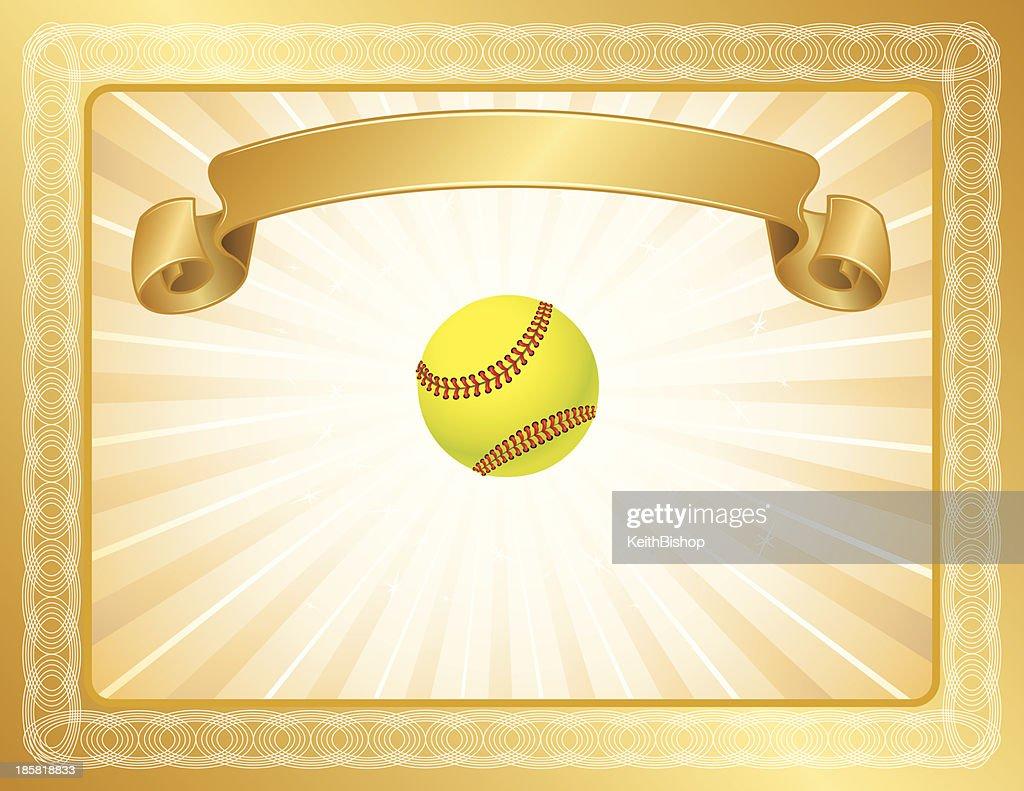 girls softball award certificate vector art getty images