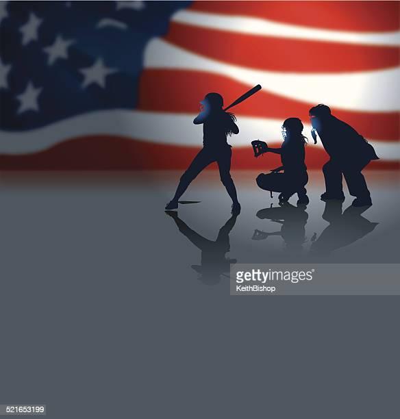 illustrations, cliparts, dessins animés et icônes de girls softball avec nous, drapeau en arrière-plan - arbitre de baseball