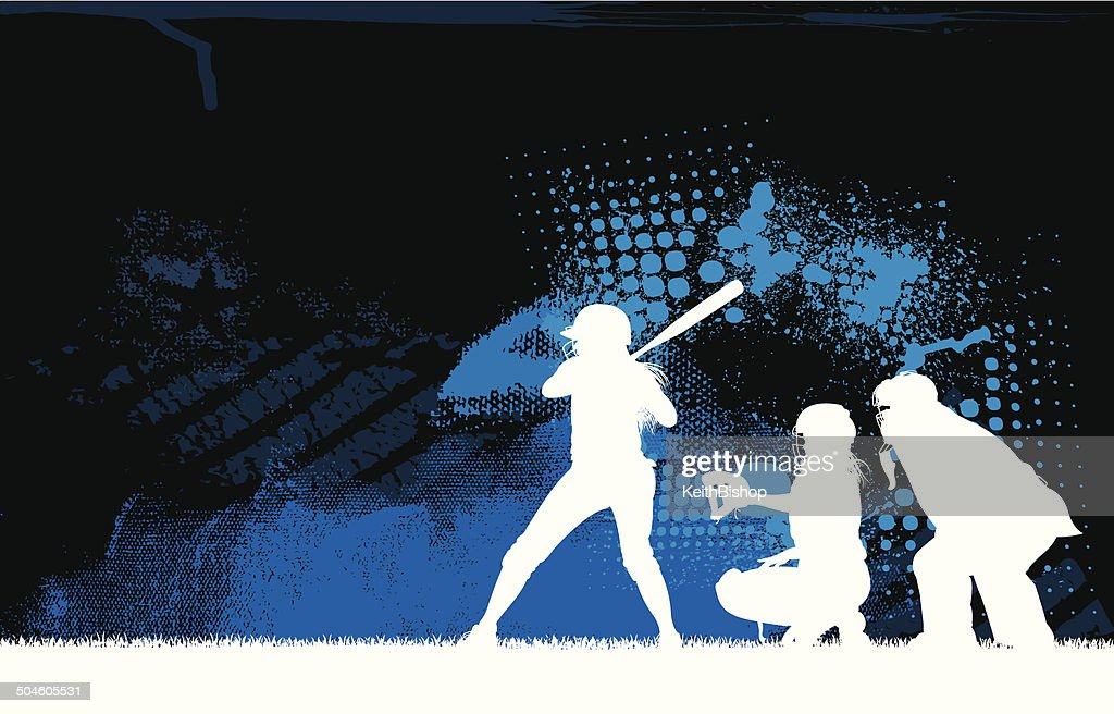 Girls Softball Batter All-Star Background : stock illustration