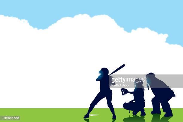 illustrations, cliparts, dessins animés et icônes de pâte de softball de filles, catcher, juge-arbitre, à fond de la chauve-souris - arbitre de baseball