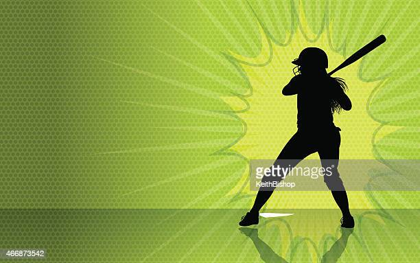 girls softball burst background - batting sports activity stock illustrations