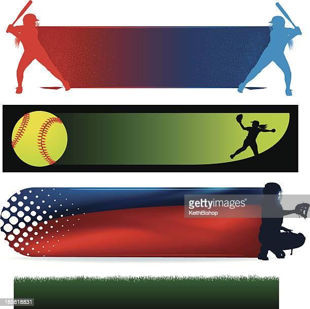 illustrations, cliparts, dessins animés et icônes de girls softball icônes, lanceur, batteur de baseball - arbitre de baseball