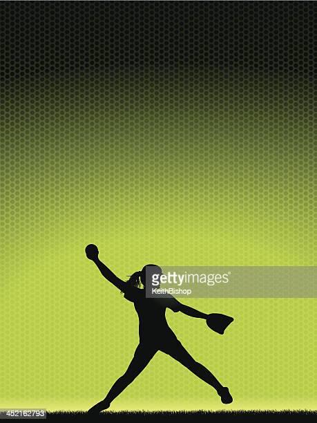 girls softball pitcher - background - baseball pitcher stock illustrations