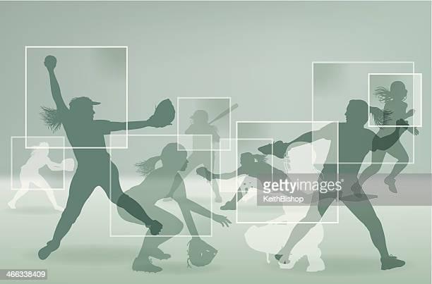illustrations, cliparts, dessins animés et icônes de girls softball joueur all-star en arrière-plan - arbitre de baseball