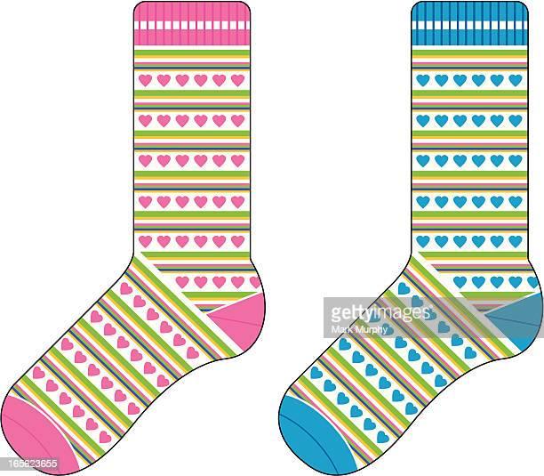 Girls Striped Socks with Heart Design