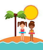 Girls sun palm tree icon. Summer and vacation design. Vector gra