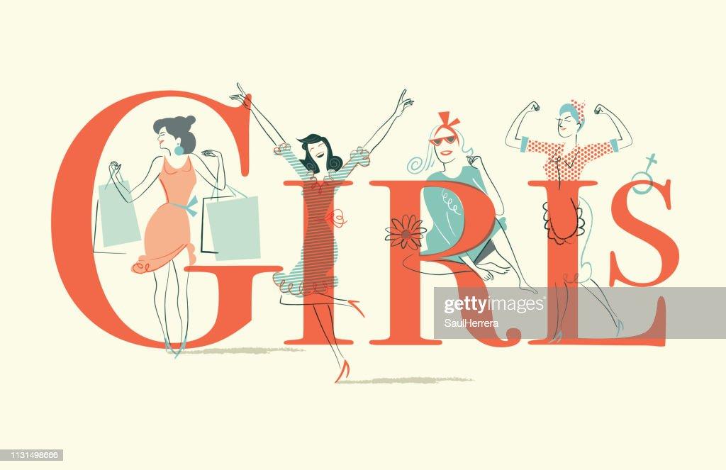 Girls : stock illustration