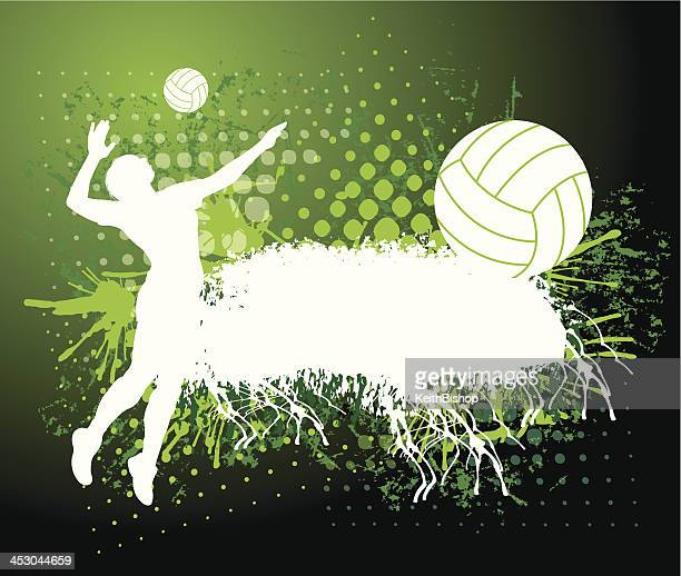 girls volleyball background - grunge - spiked stock illustrations, clip art, cartoons, & icons