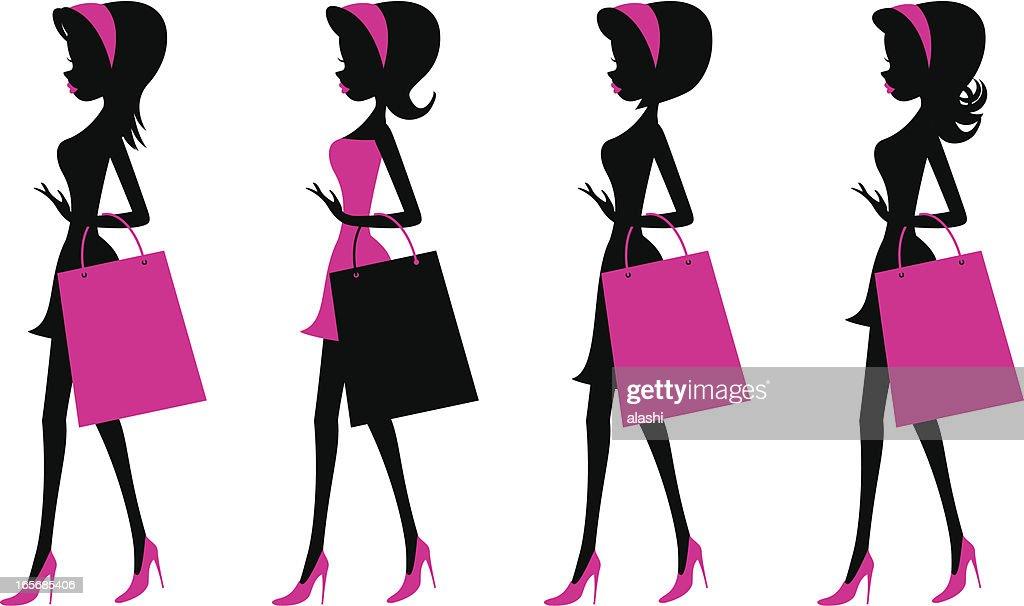 Girls walking with shopping bags