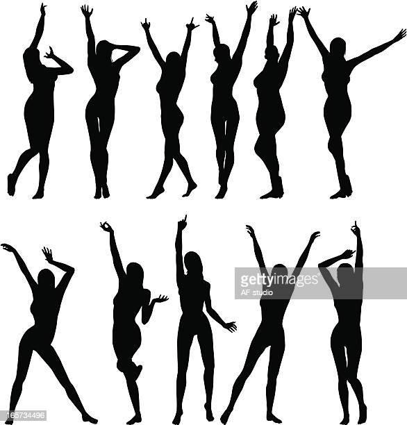 ilustraciones, imágenes clip art, dibujos animados e iconos de stock de niñas con aumento de los brazos - mujer desnuda