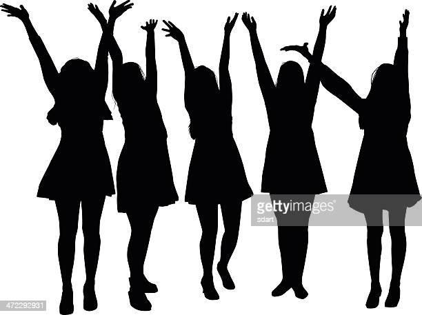 ilustraciones, imágenes clip art, dibujos animados e iconos de stock de niñas con sus brazos en el aire - alzar los brazos