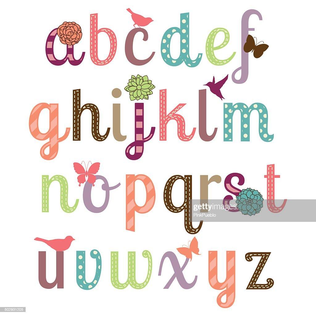 Girly Alphabet Vector Set