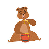 Girly Cartoon Brown Bear Character Eatin Honey With