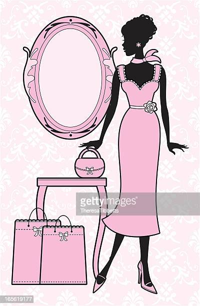girly chic - updo stock illustrations, clip art, cartoons, & icons