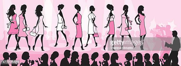 girly fashion show - catwalk stage stock illustrations
