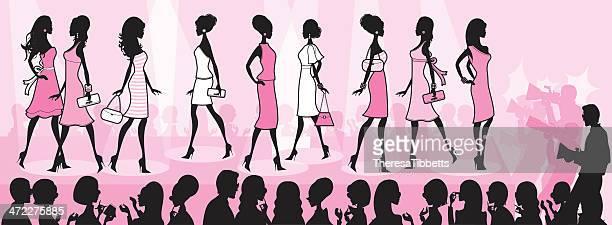 stockillustraties, clipart, cartoons en iconen met girly fashion show - catwalk toneel