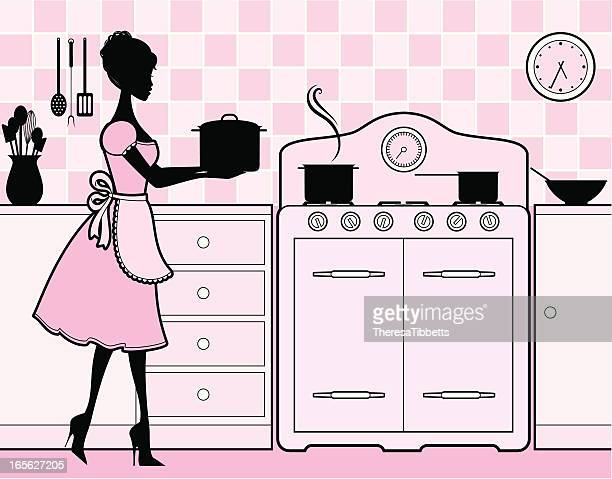 girly kitchen - stay at home mother stock illustrations, clip art, cartoons, & icons