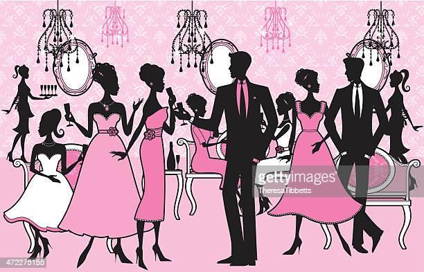 girly party - flirting stock illustrations, clip art, cartoons, & icons