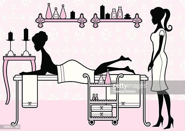 ilustrações de stock, clip art, desenhos animados e ícones de feminino spa - massagista