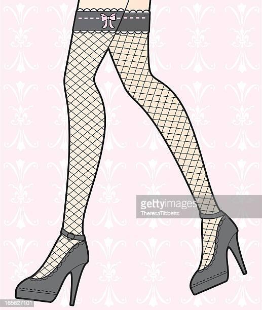 girly stockings - fishnet stockings stock illustrations