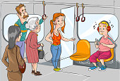 give place to the old woman on the subway