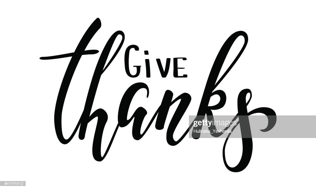 Give thanks and Happy Thanksgiving Hand drawn calligraphy and brush pen lettering, isolated on background. design for holiday greeting card and invitation for Thanksgiving Day seasonal autumn holiday