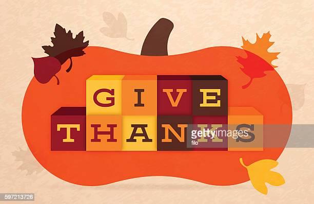 ilustraciones, imágenes clip art, dibujos animados e iconos de stock de give thanks thanksgiving autumn illustration - gracias