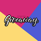 giveaway announcement, banner, card for your blog. Lettering giveaway in fashion colors