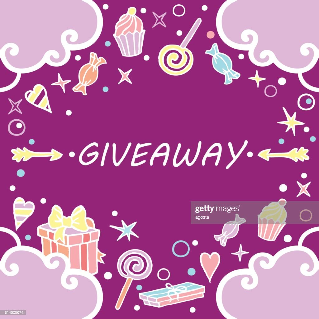 Giveaway, banner with clouds on the purple background