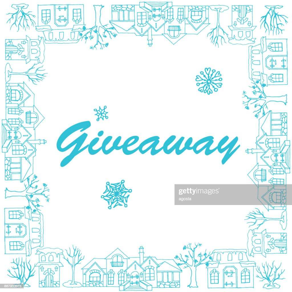Giveaway, banner with houses, trees and snowflakes on the white background