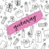 Giveaway card. Vector template for social media