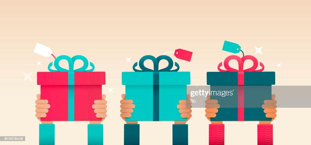 Ein Geschenk Handzeichen geben : Stock-Illustration