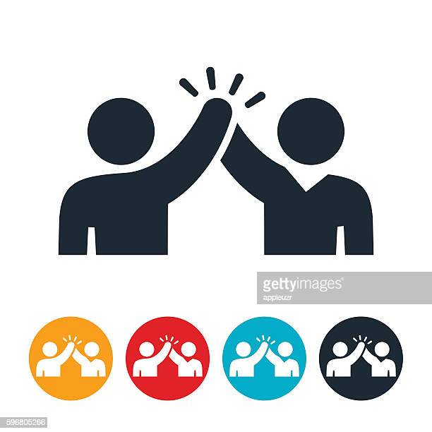 giving a high five icon - partnership teamwork stock illustrations