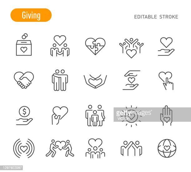 illustrazioni stock, clip art, cartoni animati e icone di tendenza di giving icons - serie line - tratto modificabile - organizzazione no profit