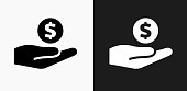 Giving Money Icon on Black and White Vector Backgrounds