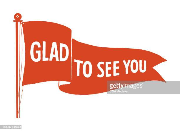 glad to see you - pennant stock illustrations