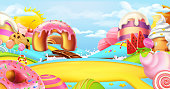Glade in a candy. Sweet worldscape, 3d vector panorama