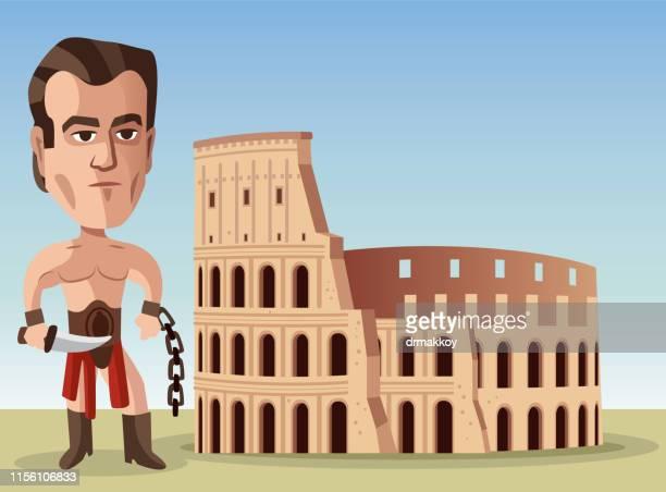 gladiator and ancient city - gladiator stock illustrations