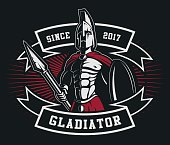 Gladiator emblem with a spear