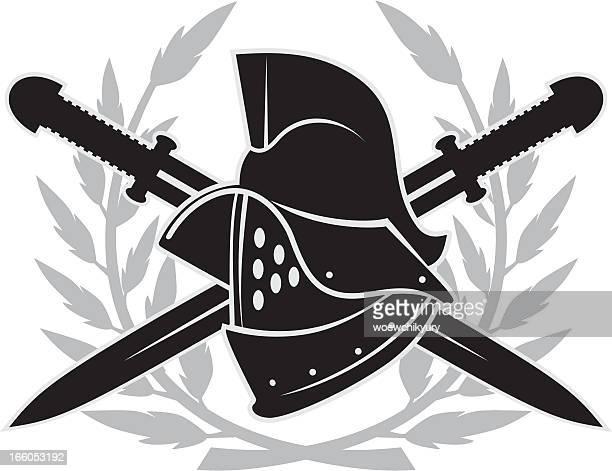gladiator helmet emblem - gladiator stock illustrations, clip art, cartoons, & icons