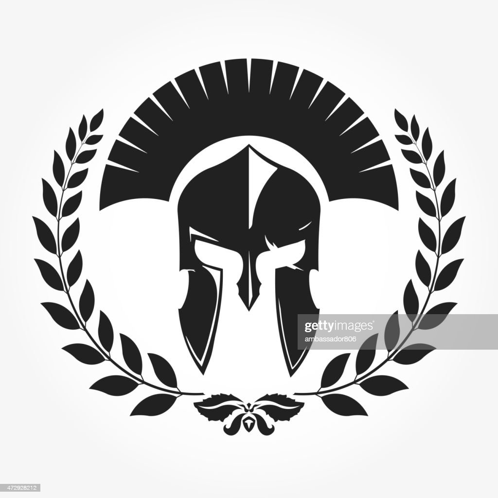 Gladiator, knight icon with laurel wreath